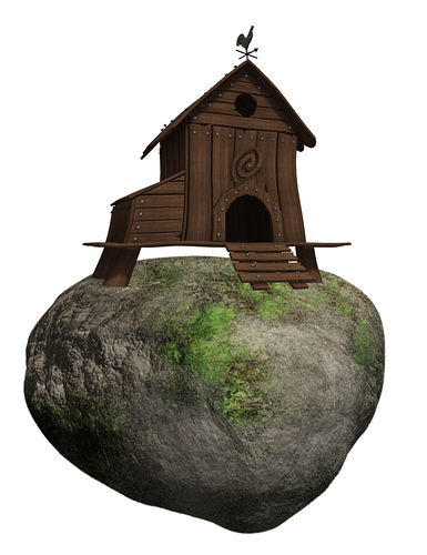 chicken barn in a stone