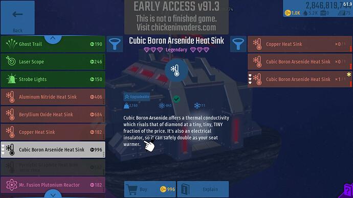 Legendary Heatsink Inventory